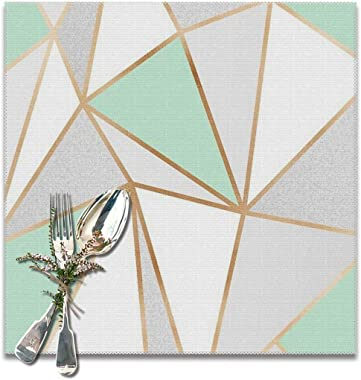 6 Pcs of Small Fresh Mint Green Golden Hook Geometry Washable Placemat, Non-Slip Set, Kitchen Table, High Temperature Resistant Oil Wash