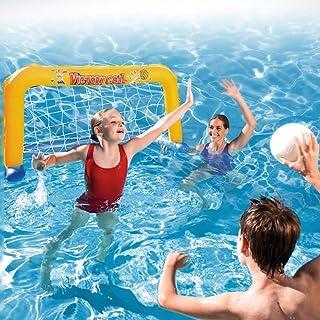 SYXX Juguetes for la piscina de los niños, juguetes de natación de verano juego de deportes acuáticos, PVC inflable waterpolo, bombas manuales for adultos de los niños, globos, red de destino marinero