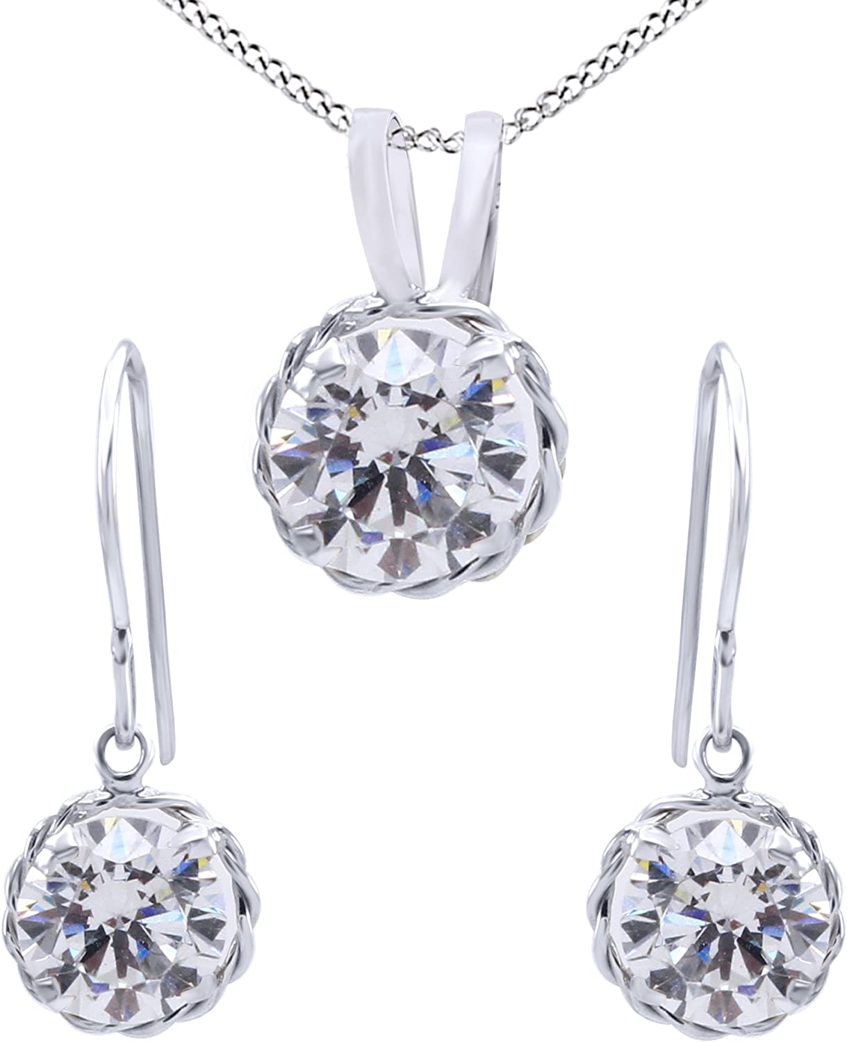 Round Cut White Cubic Zirconia Pendant Necklace & Earrings Jewelry Set in 14k Solid Gold (3.00 cttw)