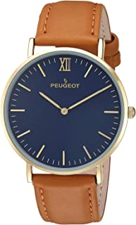 Peugeo Super Slim 14K Gold Plated Round Dress Wrist Watch with Adjustable Leather Sheffield Band