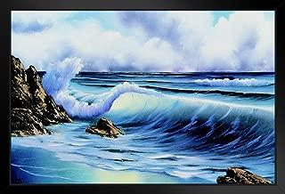 Bob Ross Surfs Up Art Print Painting Black Wood Framed Art Poster 14x20