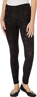 Juniors Snakeskin Print Knit Leggings Medium Black/White