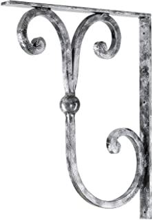 """Pewter Scroll 9""""x7"""" Premium Heavy Duty Wrought Iron Countertop Brackets 