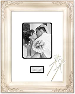 Anniversary Wedding Retirement Photo 20x24 Picture Frame White Milan Raised Floral Frame Guest Book Signature Autograph Frame Round Corner 8x10 Personalized Gold Silver Engraved Plate