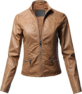 c07fe3fb5aa Awesome21 Casual Quilted Detail Fur Lining Faux Leather Jacket Camel Size L