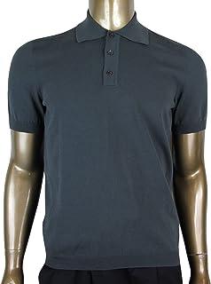 50a30f624 Gucci Men s Grey Blue Cotton BRB with Polo Shirt Web Detail 369061 4024  (Medium)