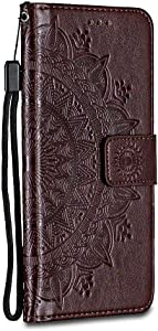 Bravoday Galaxy 2018 Case  Magnetic Closure  Card Slots  Leather Flip Wallet Phone Case Cover for Galaxy 2018  Brown