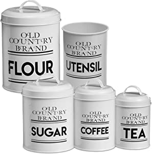 Farmhouse Kitchen Canisters – Nesting Kitchen Canister with Utensil Holder – Rustic Kitchen Décor Storage Containers – Food-Grade– Vintage Mason Jar Kitchen Accessories Set (White)