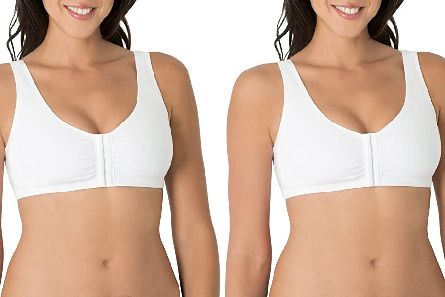 Fruit of the Loom Women's Plus Size Front Close Builtup Sports Bra, White, 46
