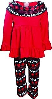 أزياء Boutique Clothing للبنات عيد ميلاد سعيد تونك وشاح - سانتا الرنة رجل الثلج