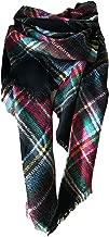 Wander Agio Womens Warm Long Shawl Wraps Large Scarves Knit Cashmere Feel Plaid Triangle Scarf