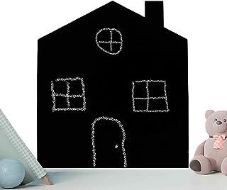 Pizarra Negra Infantil con Forma de casa 70 x 60 cm. Pizarra Decorativa rígida de Grosor 3 mm para Escritura con tizas y c...