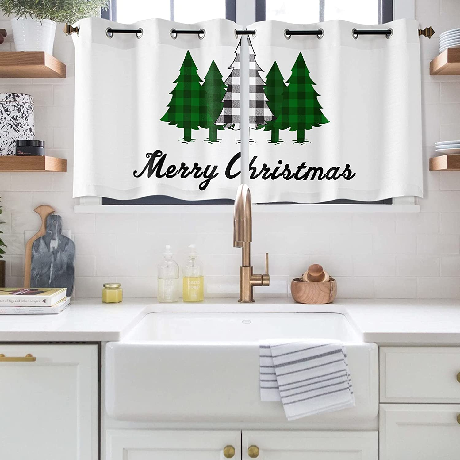 Christmas Window Max 79% OFF Curtains for Selling Polyester Darkening Bedroom Room