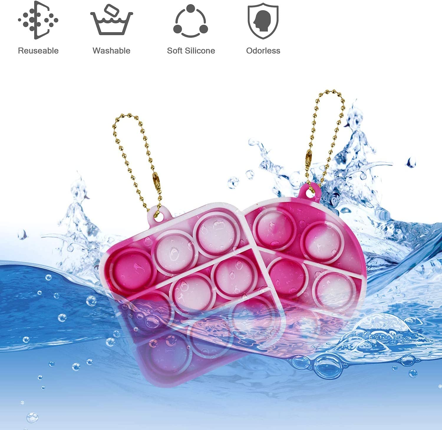 Green Pink Blue 2PCS Simple Fidget Toy Pop Fidget Toy Mini Stress Relief Hand Toys Keychain Toy Push Pop Bubble Wrap Pop Anxiety Stress Reliever Office Desk Toy for Kids Adults