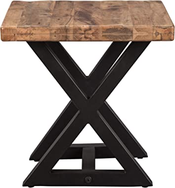 Signature Design by Ashley Wesling Urban Square End Table with Mango Wood Top, Light Brown & Black