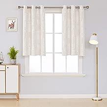 Deconovo Decorative Bedroom Curtains Silver Print Room Darkening Draperies Grommet Window Treatment Panels for Kidsroom, 38x45 Inch, Light Beige