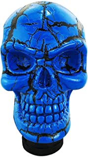 Abfer Car Gear Knob Universal Skull Car Accessories Stick Shift Knobs with Black Pattern Fit Most Manual Automatic Vehicle (Blue)