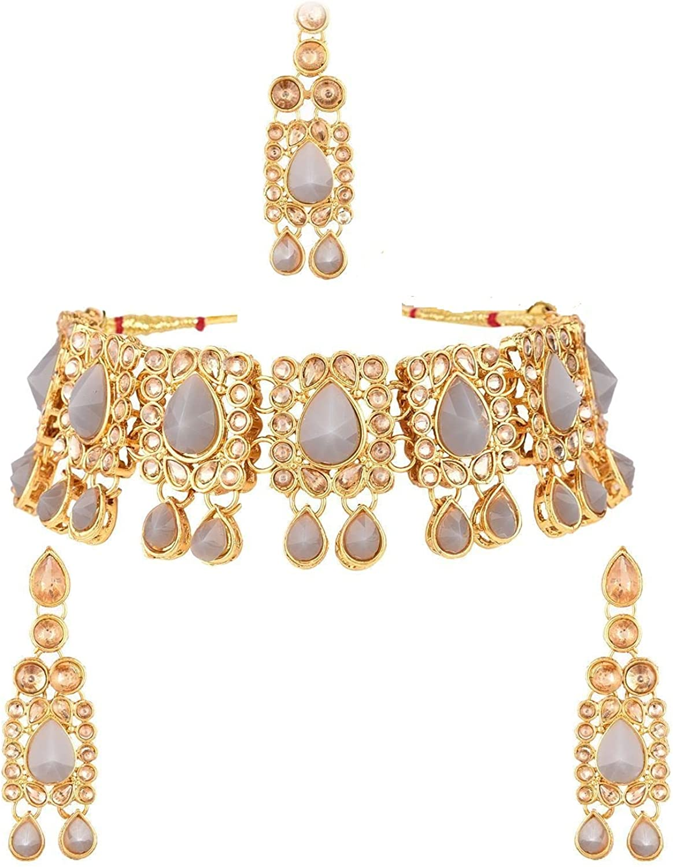 Efulgenz Indian Jewelry Kundan Crystal Choker Necklace Earrings Maang Tikka Head Chain Bollywood Wedding Bridal Set
