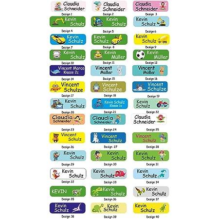 Sunnywall/® Namensaufkleber Namen Sticker Aufkleber Sticker 4,8x1,6cm 60 St/ück f/ür Kinder Schule und Kindergarten 38 Hintergr/ünde zur Auswahl 10 Elefant