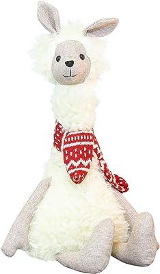 Hanna's Handiworks Adorable Sitting Llama Winter White 16 x 9 Fabric Holiday Collectible Figurine