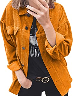 Theenkoln Womens Shirts Long Sleeve Button Down Casual Solid Color Ribbed Corduroy Jacket Blouse Tops