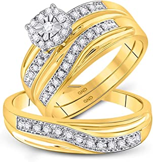 Mia Diamonds 10k Yellow Gold Round Diamond Matching Trio Mens Womens Wedding Bridal Ring Set (.33cttw) (I2-I3)- Available Sizes From - 5 to 11