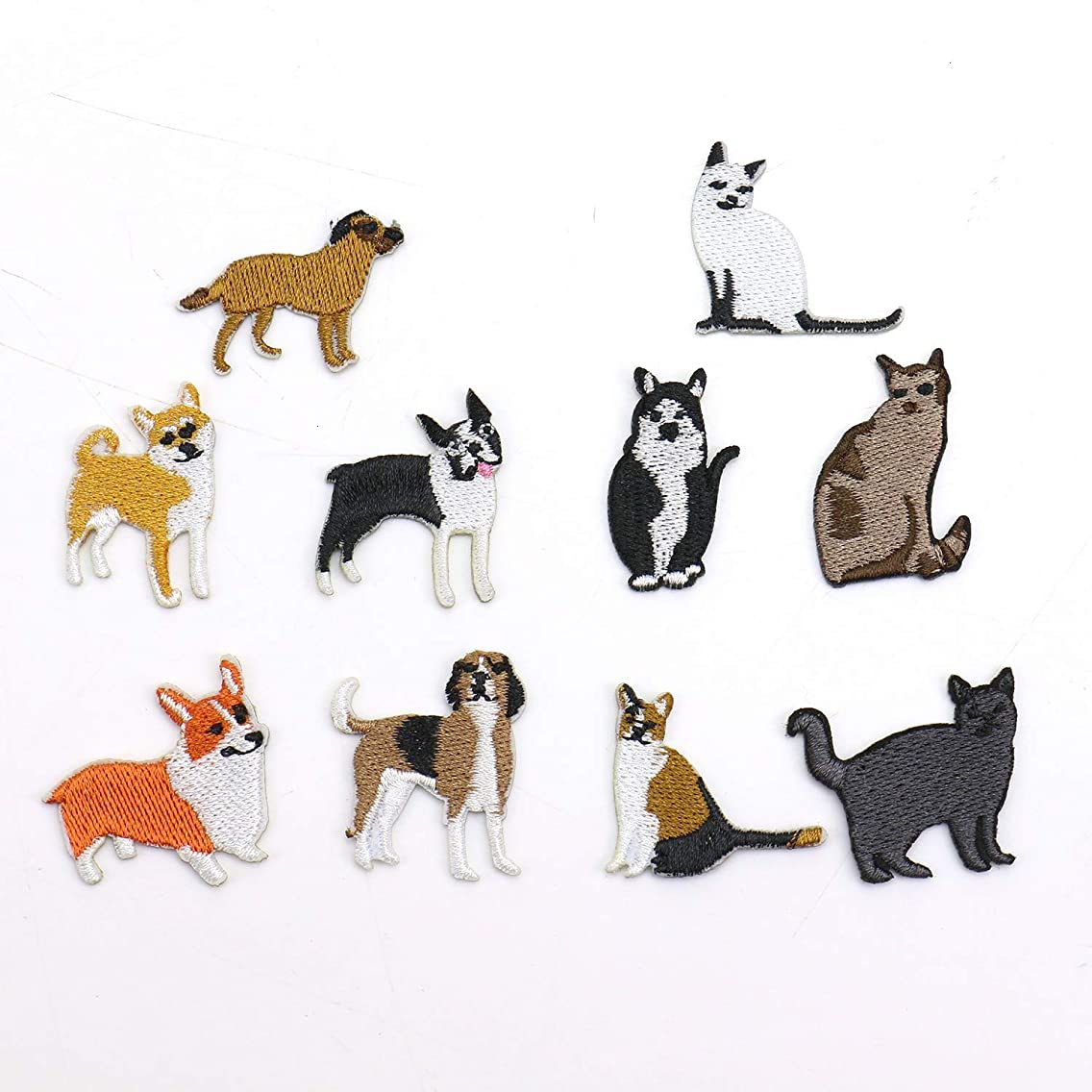 Monrocco 20 Pieces Cute Dog Cat Iron on Patches Embroidered Applique Sew On Applique Patch for Clothing Backpacks Bookbag Jeans T-Shirt Caps Shoes