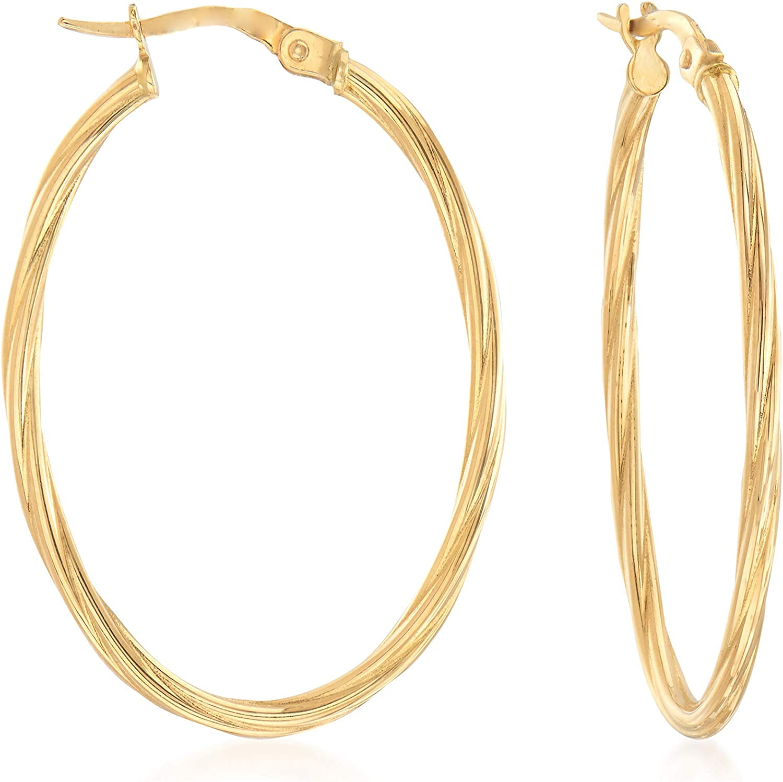 Ross-Simons Italian 18kt Yellow Gold Oval-Shaped Twisted Hoop Earrings