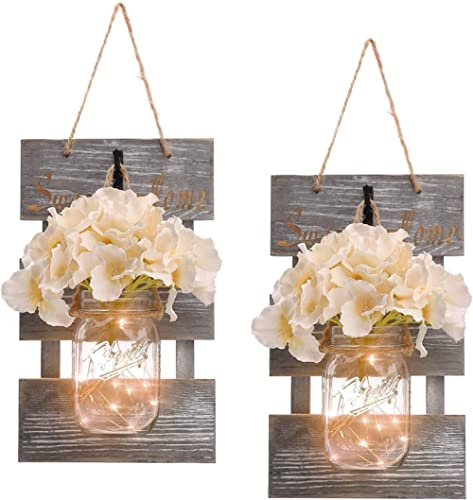 Rustic Grey Mason Jar Sconces for Home Decor, Decorative Chic Hanging Wall Decor Mason Jars with LED Strip Lights, 6-...