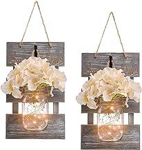 Rustic Grey Mason Jar Sconces for Home Decor, Decorative Chic Hanging Wall Decor Mason Jars with LED Strip Lights, 6-Hour ...