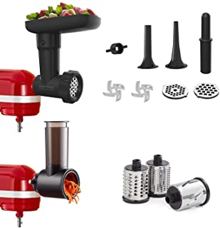 InnoMoon Food Slicer Shredder & Meat Grinder Attachment Pack for KitchenAid Stand mixer, with Sausage Filler Tube,Work as ...