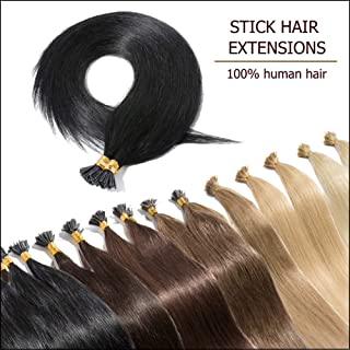 """100 Strands I Tip Hair Extensions Human Hair Natural Off Black 16 Inch Soft Straight Remy Hair Pre Bonded Stick Shoelace Tips—16"""", 1B, 50g"""