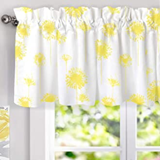 DriftAway Gianna Floral Leaf Botanical Lined Thermal Insulated Energy Saving Window Curtain Valance for Living Room Bedroom Kitchen 2 Layers Rod Pocket 52 Inch by 18 Inch Plus 2 Inch Header Navy