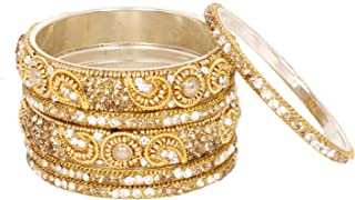 Ratna Bollywood Indian Shinning Partywear Ethnic Golden Crystal Lac Stone Bangle Bracelet Traditional Wedding Kada Bangles
