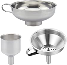 Best 3 Pieces Funnel Durable Stainless Steel Kitchen Funnels with Strainer-Ideal for Transferring of Spices Liquid Powder Bean jam Canning Dishwasher Safe Funnels Set Review
