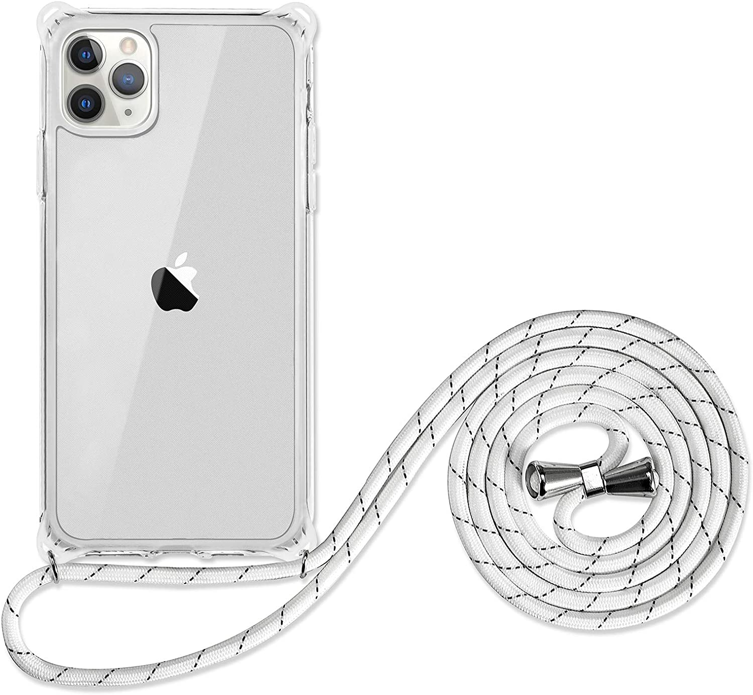 SZINTU for iPhone 11 Pro Max Crossbody Lanyard case[1.5m Anti-Fall] Cute Pattern Clear Design Transparent Soft&Flexible TPU Drop and Shockproof Protective Cover with Adjustable Neck Strap(Clear)