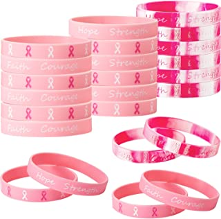 Gejoy 48 Pieces Breast Cancer Awareness Silicone Wristband Pink Ribbon Bracelets, Hope Faith Strength Courage Silicone Wristband