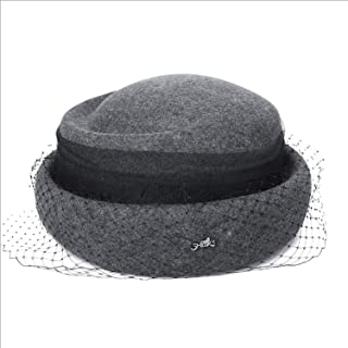 Lxy New Wool Cap Female Retro Small Top Hat Banquet Mesh Bell Cap Hat Fall Winter wk (Color : Gray, Size : L)
