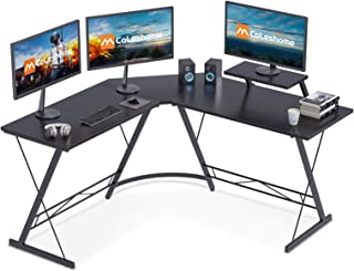 """Coleshome L Shaped Desk, 51"""" Home Office Corner Desk with Shelf, Gaming Computer Desk with Monitor Stand, PC Table Worksta..."""