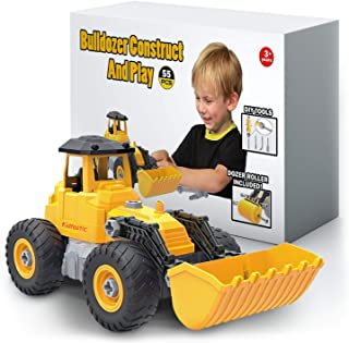 Kidtastic Bulldozer Toy, Take Apart STEM Fun with Screwdriver, Ages 3 4 5 and up, Construction Tractor Truck Engineering Vehicle, Building Play Set for Boys Girls Toddlers