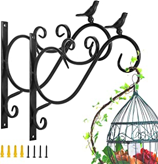 Lewondr Wall Hanging Plants Bracket, 2 Pieces Retro Bird Wrought Iron Hanging Flower Hooks Rack Wall Bracket for Plant Bas...