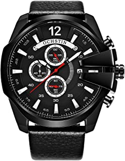 OCHSTIN Men Watch Leather Strap Quartz Sport Wristwatch Calendar Fashion Casual 3ATM Waterproof Male Watches