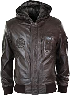 Mens Brown Real Leather Hood Fleece Lined Bomber Pilot Aviaotor Flying Jacket Warm