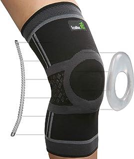 آستین فشرده سازی زانو TechWare Pro - بهترین بریس زانو با استابلایزر جانبی و پد ژل پاتلا برای پشتیبانی از زانو. آرتریت ، پارگی منیسک ، تسکین درد مفاصل و ترمیم آسیب های ورزشی. تنها