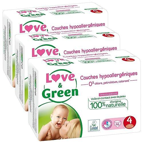 Love & Green - Couches Bébé Hypoallergéniques 0% - Taille 4 (7-14 kg) - Lot de 3 x 46 couches