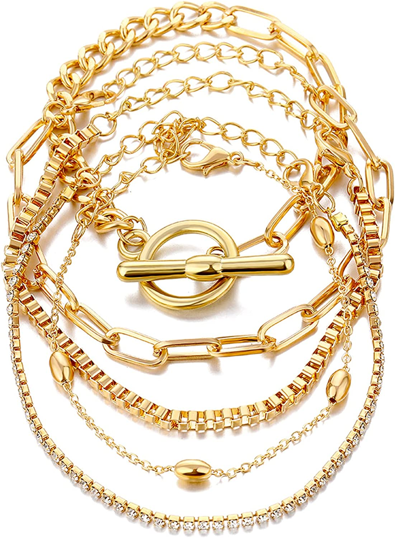 IFKM Gold Bracelets for Women Girls, 14K Gold Plated Dainty Layered Adjustable Link Bracelets Cute Bangle Chain Ankle Bracelet Set