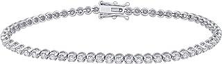 IGI معتمد 1.50 قيراط ألماس طبيعي سوار 10 قيراط من الذهب الأبيض (J-K، نقاء I2-I3) سوار ألماس للنساء مجوهرات الماس هدايا للنساء