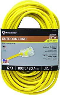 Southwire 25890002 2589SW0002 Outdoor Cord-12/3 American Made SJTW Heavy Duty 3 Prong..