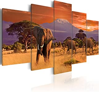 Konda Art African Elephant Family Canvas Print Large Dining Room Picture Modern Sunset Landscape Wall Decor Painting 5 Piece Animal Artwork for Bedroom Framed and Ready to Hang (Elephants, 40