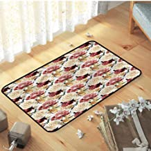Welcome Door Mat, for Home, Nursery, Bed and Living Room Indoor Modern Area Rug Catches Dirt Dust Snow & Mud, Rose Watercolor Roses Peonies - W15 x L23